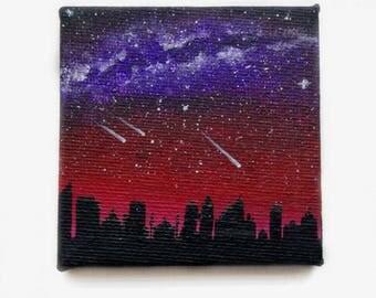 Acrylpainting - City Skyline - Milkyway - Night Sky