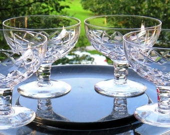 Set of 4-Stuart Crystal- Beau Circa 1979-Footed Dessert-3.25 inch -Brilliant Clarity-MINT Condition-Fully Signed