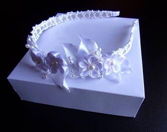 White satin ribbon wedding headband and lace bridal kanzashi flower headband