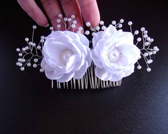 Bridal Kanzashi Hair Comb with satin flowers and pearl beads/Bridal White Headpiece/Wedding Hair Accessory/+150 custom colours