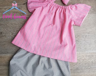 baby girl outfit, baby girl top, skirt, headband, baby outfit, pink, grey, cotton, limited edition