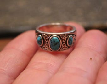 Antique Sterling Silver Turquoise Ring