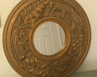 Round Gold Accent Mirror with Monkey Carvings by Kirch
