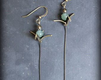"Earrings ""Origami"" thin and aventurine stones"