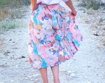 Vintage skirt. 60s. Flower skirt, pastel shades. Collar skirt, Flyers. Skirt of flight, fluid. Long skirt, maxi skirt. Bohemian hippie skirt