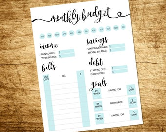 Monthly Budget | Finance Planner | Monthly Budget Log | Instant Download