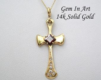 14k Solid Gold Cross necklace,Big Gold Cross neckalee,gold cross pendant,Vintage gold cross,Baptism gold cross,orthodox cross,catholic cross