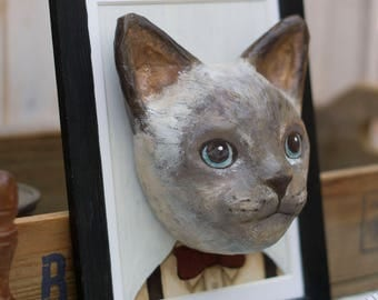 paper mache, cat, frame, animal, painting