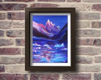 Mountain picture, Printable art, Mountain Landscape, Art Landscape, Ice print, Print Landscape, Digital print, Winter Landscape