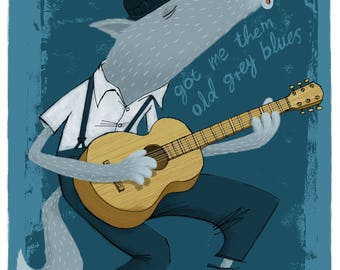 Limited edition Giclée print of musical wolf. Signed by illustrator Simon Cooper
