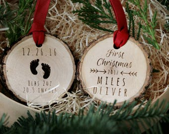 Baby's First Christmas Custom Wooden Ornament, Personalized Christmas Ornament, Rustic wood slice ornament,