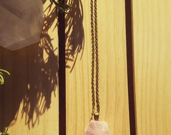 HEAVENLY - Chunky Rose Quartz Necklace, Raw Quartz, Pink Crystal Pendant, Heart Chakra, Self Love, Gift for Mom,Sister,Friend,Daughter