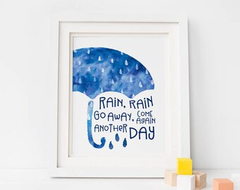Printable Art, Kids Room Decor, Nursery Print, Umbrella Print, Boy's Room Decor, Watercolor Wall Art, Ombre Art, Rain Rain Go Away, Blue Art