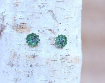 Handmade Green Rosette Succulent Post Earrings