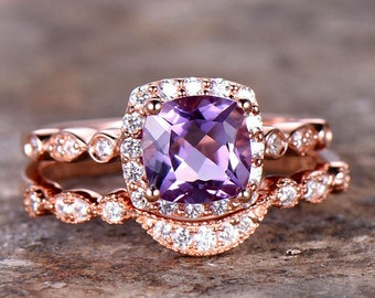 6.5mm Cushion Amethyst Engagement Ring Set CZ Art Deco Wedding Band Curve Ring Sterling Silver Promise Ring Bridal Set Rose Gold Plated