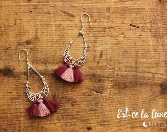 """SILVER 925 - Earrings / Earrings """"Geometric Moon & tassels"""" - pink"""