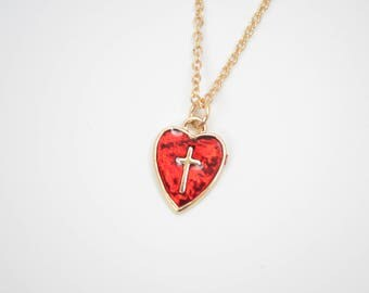 Red Heart Necklace / Gold Cross Necklace / Red Charm Pendant Necklace / Gold Heart Necklace / Dainty Red Cross Necklace