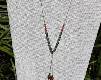 Adjustable Silk Lariat with delicate crystals