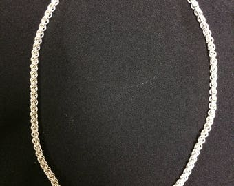 Sterling Silver Chainmaille Necklace with Distinctive clasp