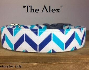 "Teal Blue Navy Chevron Dog Collar - ""The Alex"""