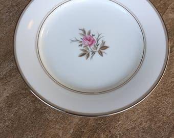 Vintage Noritake China Salad Plate Silver Trim Floral Design Roanne Pattern