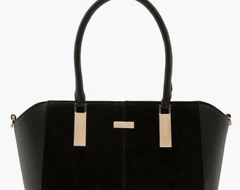 Faux Leather Textured Tote Bag - Top Handle Tote Bag
