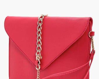 Gold Tone Chain Detail Clutch Bag - Tassel Detail Chain Trim Crosshatch Clutch Bag