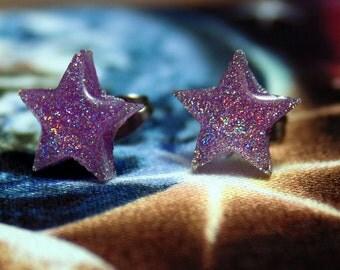 UV Holo Purple Star Stud Earrings Kawaii Rave Cute