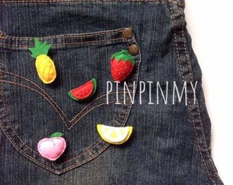 Cute Fruits Felt Pineapple Peach Lemon Watermelon Strawberry For Hat Collar Corsage Shirt Badge Brooch Pin Jewelry Gift