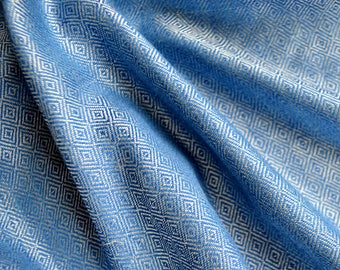 Blue diamond twill silk fabric, handwoven diamond weave silk for Viking clothing, historical clothing, Vendel clothing, historical clothing