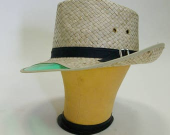 Grandpa's Fishing hat straw with green visor