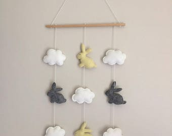 Bunny and cloud wall hanging - handmade