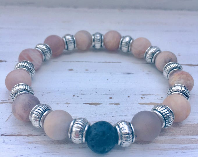 Black Lava Rock, Moonstone and Antique Silver Beaded Diffuser Bracelet for Essential Oils