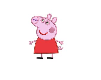 Peppa Pig Applique - Peppa Pig 3,4,5,6 inch size INSTANT DOWNLOAD