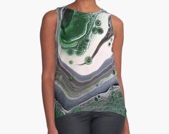 Original Art Print Contrast Tank Top Shirt - Green Thunder