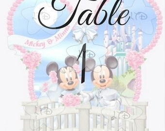 Mickey and Minnie Terrace Wedding Table Numbers  Set of 10