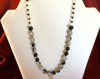 Necklace, Beaded Necklace, Beaded Black and Clear Necklace, Beaded Black and Clear Necklace with Pendant