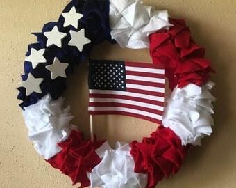 Patriotic Wreath, 4h of July Wreath , Patriotic Felt Wreath, Summer Fourth of July Felt Wreath , Red, White and Blue Felt Wreath