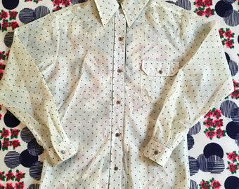 Vintage White Nylon Green Heart Print Semi Sheer Long Sleeve Pointy Dagger Collar Shirt