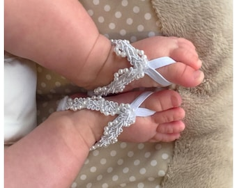 White Baby Barefoot Sandals/ Baby Sandals/Baby Girl/Barefoot Sandals/Artsy Feet