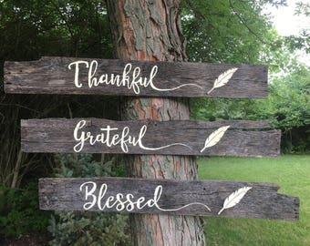 Wood Pallet Sign, Thankful - Grateful - Blessed,  Distressed, Weathered, Feather, 3D