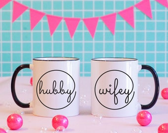 Hubby and Wifey Matching Mugs, Wedding Gift, Matching Mugs, Newlyweds, Wedding Gift, Bride, Groom