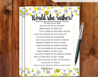 Would She Rather Bridal Shower Game - Yellow Dots & Diamonds Printable Bridal Shower Game - Bachelorette Party Hen Party Game DD79-YW