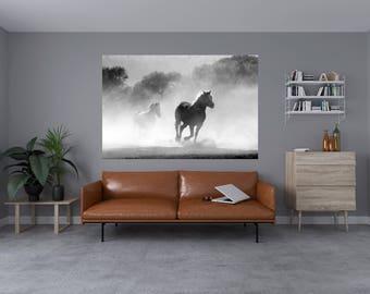 Black & White Horse / Fog Wall Sticker Self Adhesive Vinyl Art Decals 1017