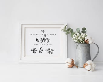 Please Leave Your Wishes For the New Mr and Mrs Wedding Sign  Wedding Advice Sign Printable Modern Advice Sign