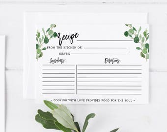Greenery Recipe Card Template  Recipe Card Printable Template Greenery Editable Recipe Card Template Bridal Shower Recipe Card insert