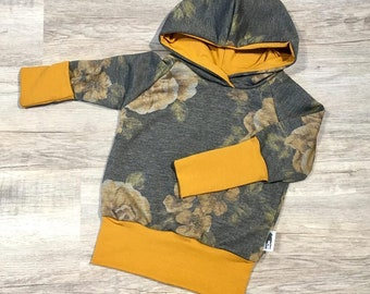 Grow-with-me Hoodie size 9m-3T, Grey Mustard Floral