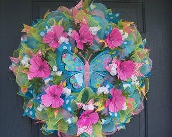 Summer Wreath, Deco Mesh Wreath, Butterfly Wreath, Spring Wreath