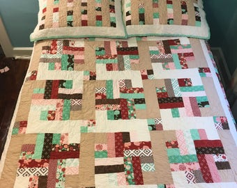"Quilt + 2 pillow shams made with ""Into the Woods"" Moda fabric collection"