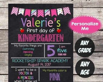 First Day of KINDERGARTEN Sign First Day of School sign First Day of School Chalkboard Printable Personalized BacktoSchool Sign ANY GRADE #2